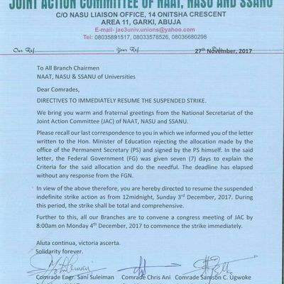 NASU back to strike. Find out why in this memorandum released