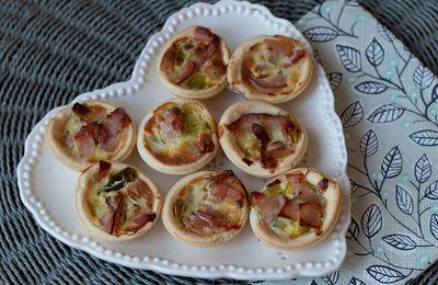 Mini tartelettes aux poireaux et au bacon