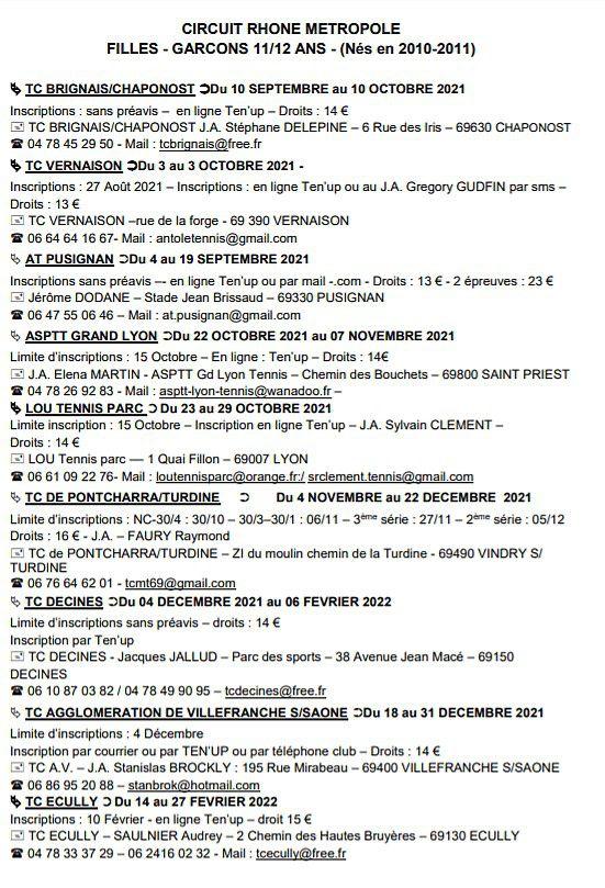 CIRCUIT RHONE METROPOLE FILLES - GARCONS 11/12 ANS - (Nés en 2010-2011)