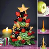 Idée de décoration de table, un sapin de Noël en version fruit, fait maison