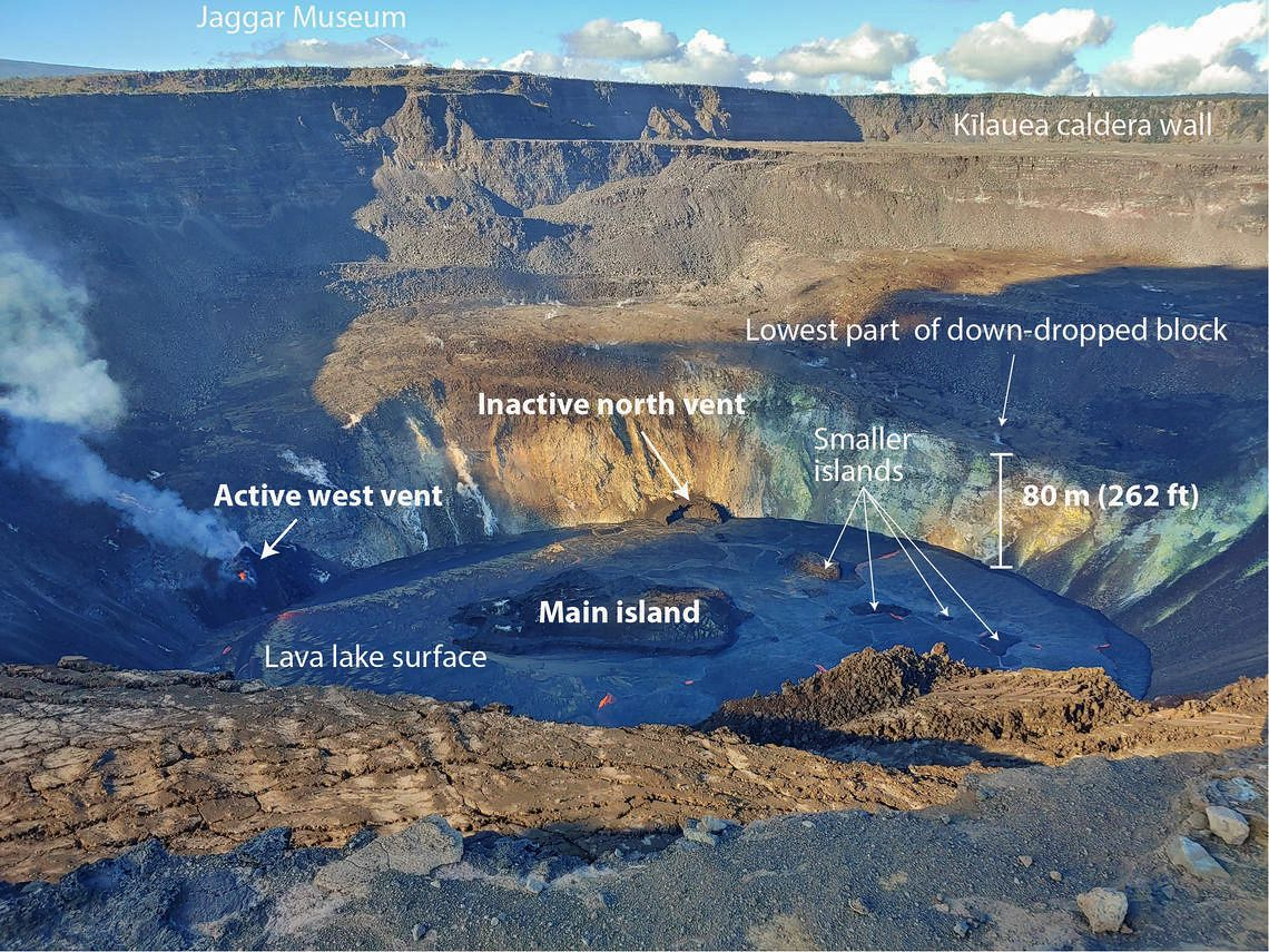 Kilauea 12/30/2020- Annotated eruption photograph taken at 5 p.m. HST on December 30, 2020, from the southern edge of Halemaʻumaʻu, summit of the Kīlauea volcano. - USGS photo by K. Lynn.