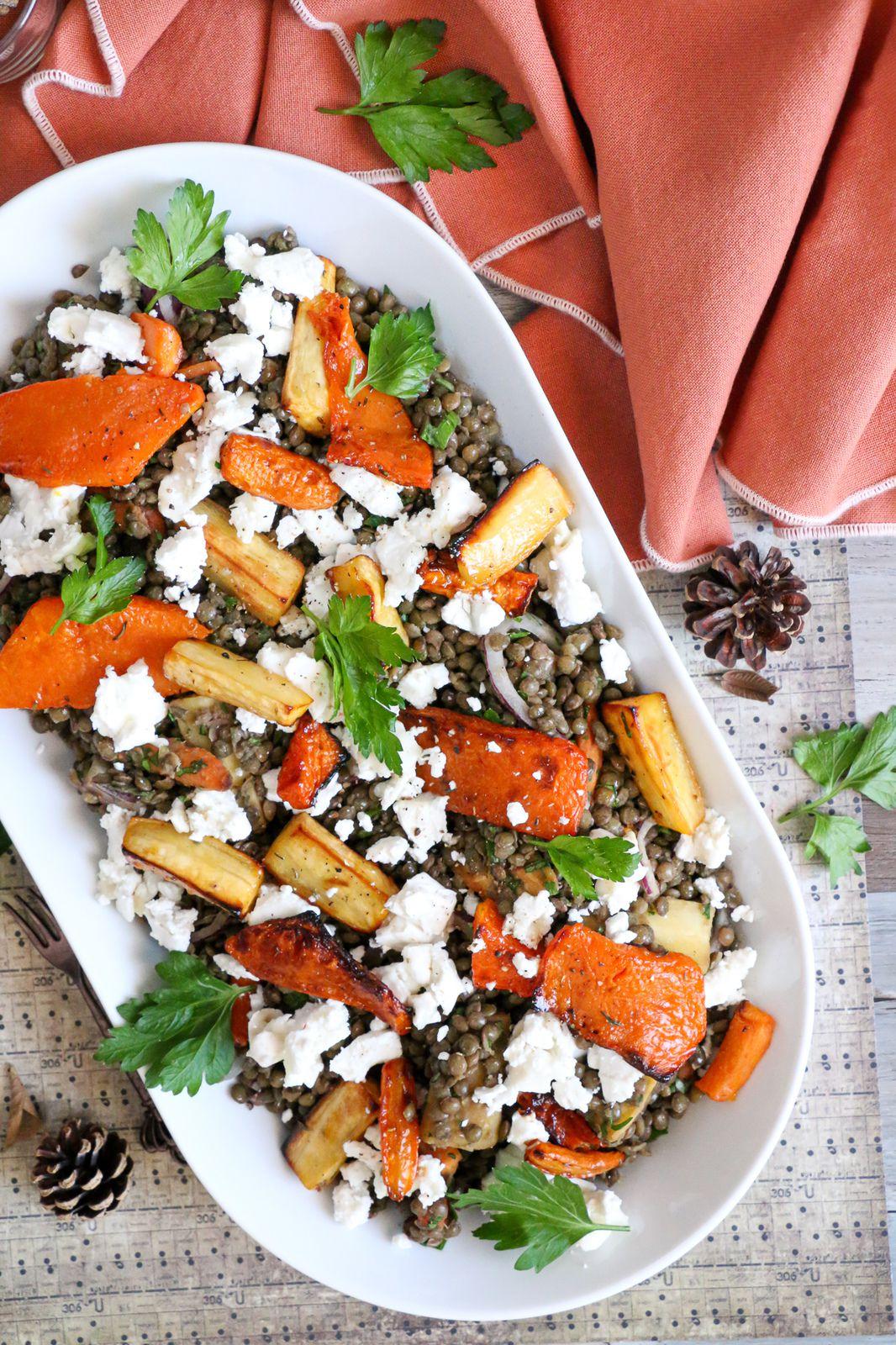 Salade d'automne aux lentilles vertes du Puy et légumes de saison rôtis au miel