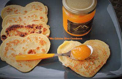 """Crêpes """"ti son"""" (à la farine de Maïs)-Confiture Mangue Miel- Les Saveurs de la Fournaise"""