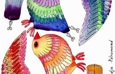 Mobil oiseau à colorier ou prêt à imprimer