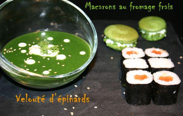 Recette n°51 : Velouté d'épinards au cumin, macarons au fromage frais