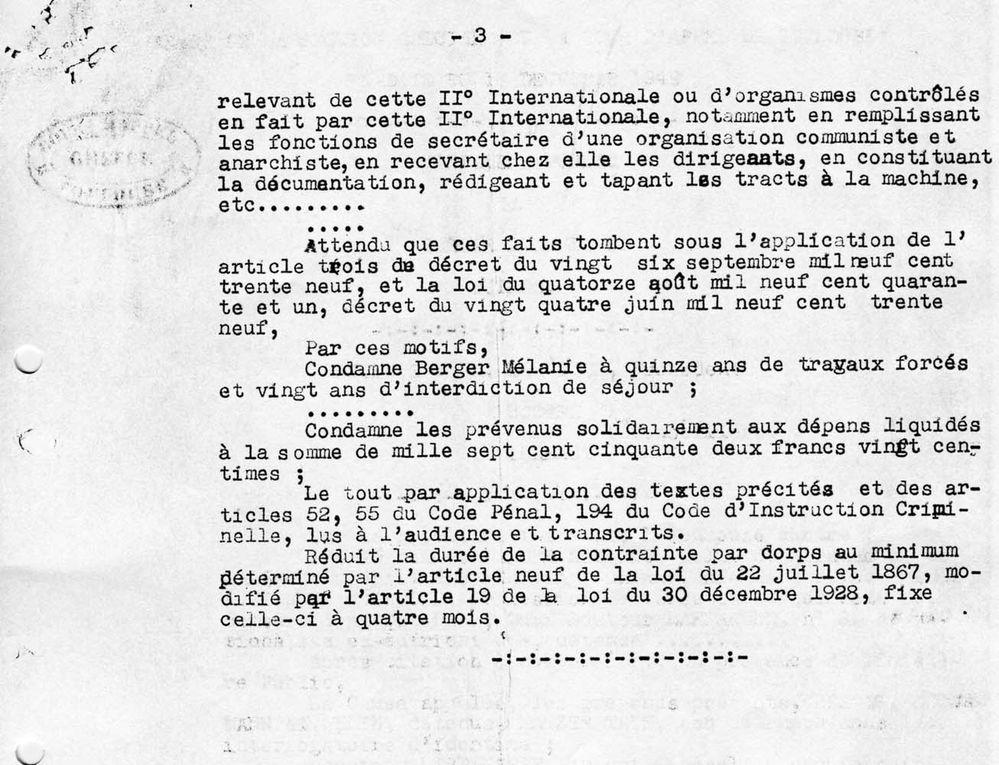 Arrêt de la section spéciale de la cour d'appel de Toulouse concernant la condamnation de Mélanie Berger, 18 décembre 1942 ( © Collection Mélanie Volle-Berger Droits réservés)