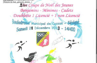 COUPE de NOËL « jeunes » benjamins , minimes, cadets le 21 décembre 2013 à Cesson Sevigné (35)