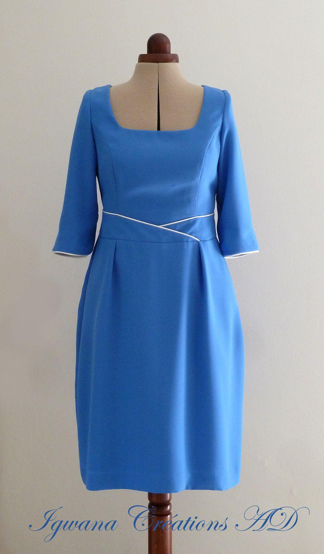Robe M Pascale en crêpe bleu