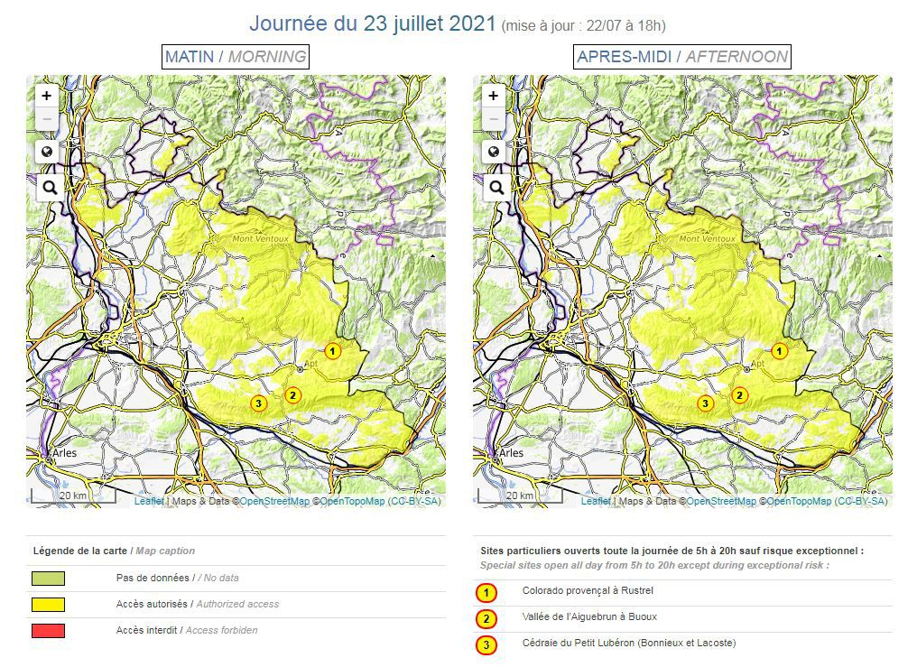 Carte risque incendie en Vaucluse. Journée du vendredi 23 juillet 2021
