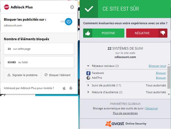 recherche Google, extensions Ablock+ et Avast pour Chrome sur le site Cdiscount - tous droits réservés