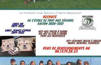Le Football Club Féminin d'Hénin-Beaumont recrute pour la saison 2020-2021