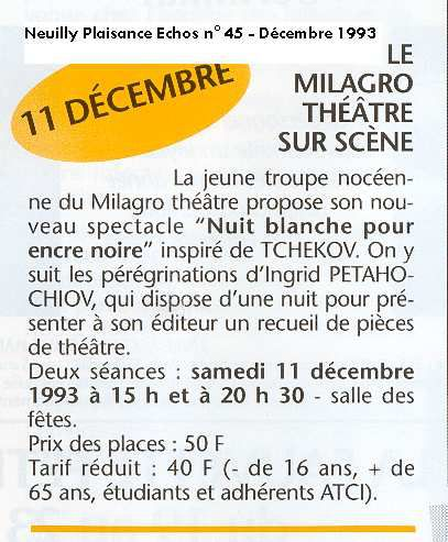 Nuit blanche pour encre noire : pièces de Tchekhov à la salle des fêtes de Neuilly-Plaisance (1994)