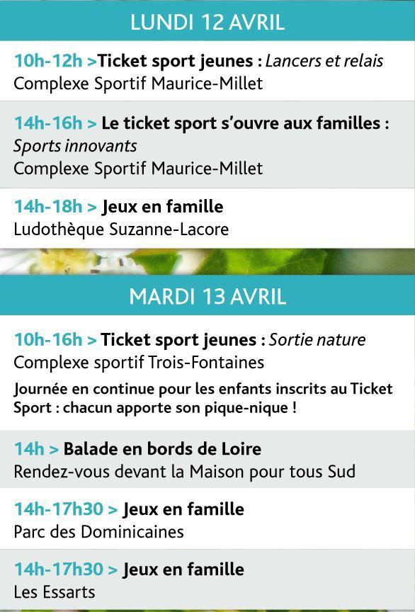 ANIMATIONS GRATUITES en plein air pour tous à St JEAN DE LA RUELLE du 12 au 23 avril 2021 – Téléchargez le programme