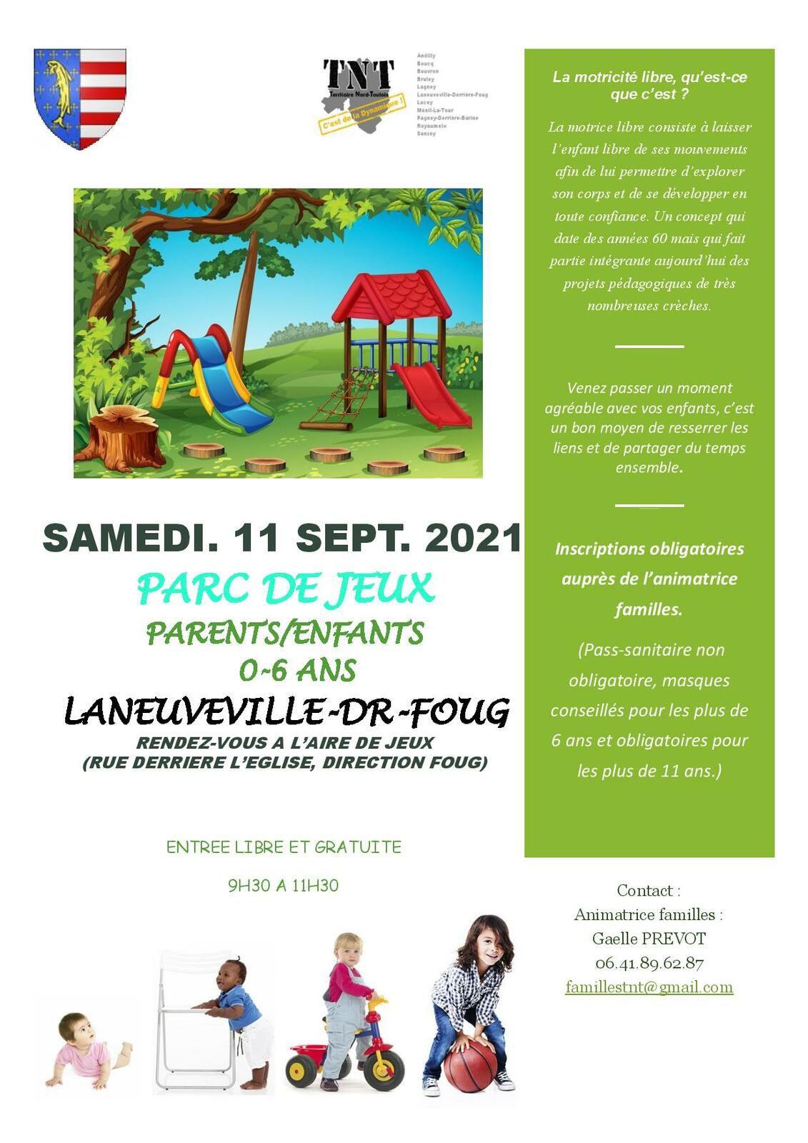 Activités Parents-enfants (0-6 ans) - Samedi 11 septembre 2021
