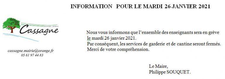 Cassagne - Grève des enseignants mardi 26 janvier - Coupures de courant