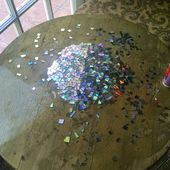 I made a Mosaic tabletop using broken CDs! Finishing it before Christmas is my little present to myself.