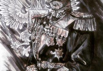 Le Tsar  Nicolas 2,dessin format a3 aux feutres,