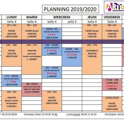 Rentrée 2019 / 2020 Planning des cours