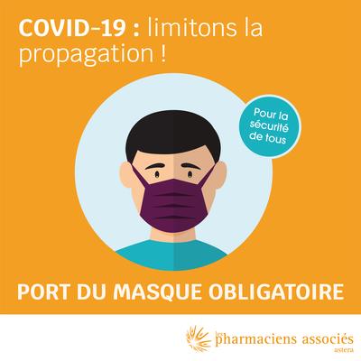 Le port du masque est obligatoire à l'intérieur de la pharmacie