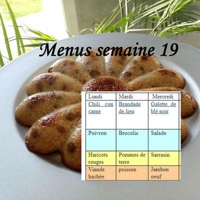 Menus de la semaine 19 (planning idées repas)