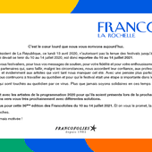 Au tour du festival Les Francofolies d'être annulé cet été 2020. - Leblogtvnews.com