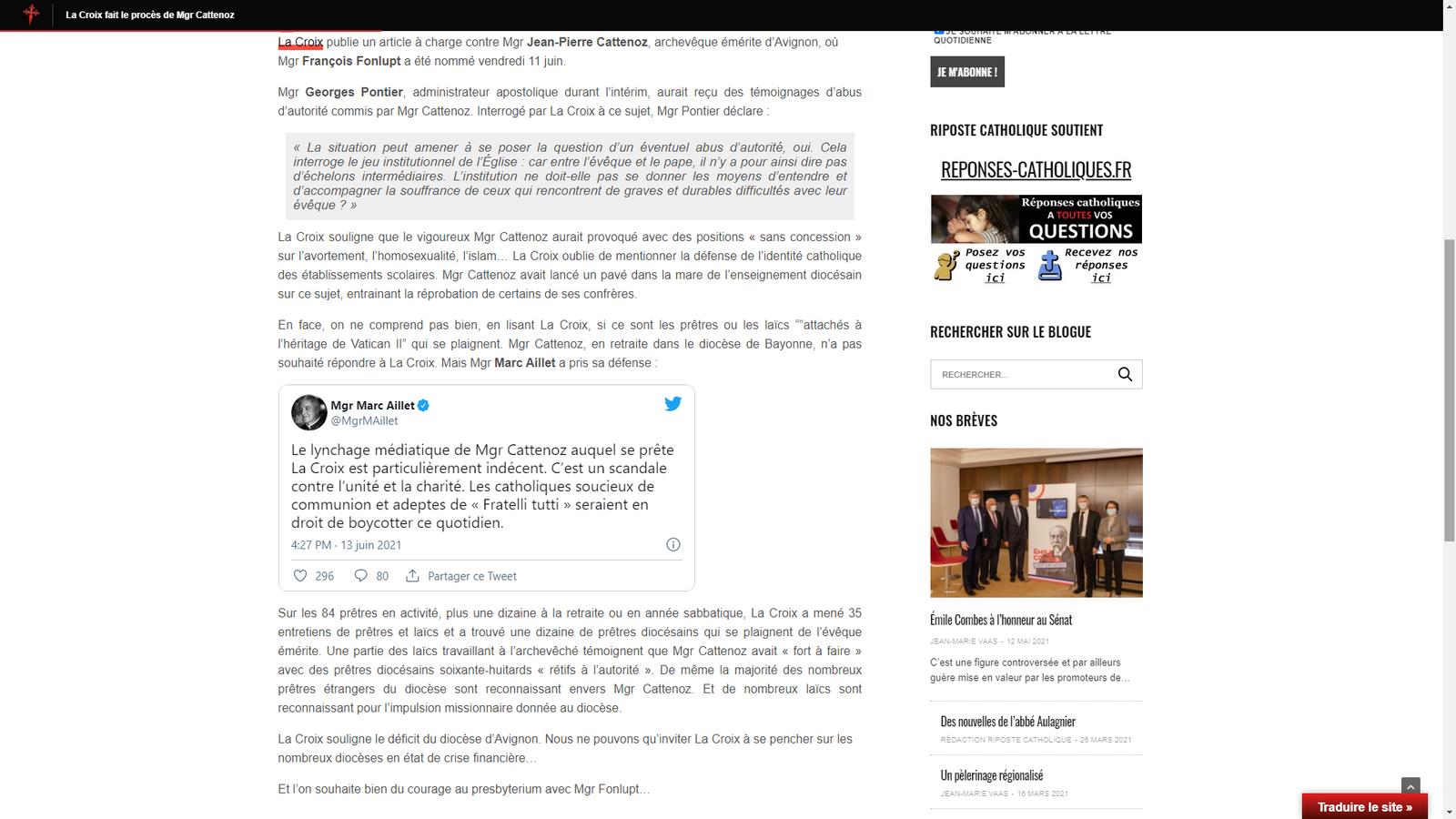 """Mgr Aillet appelle les catholiques de boycotter le quotidien """"La Croix"""""""