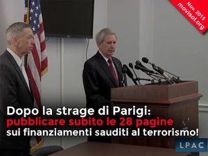 Dopo la strage di Parigi: pubblicare subito le 28 pagine sui finanziamenti sauditi al terrorismo!