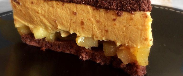 Pomme-poire, bavarois caramel, biscuit chocolaté