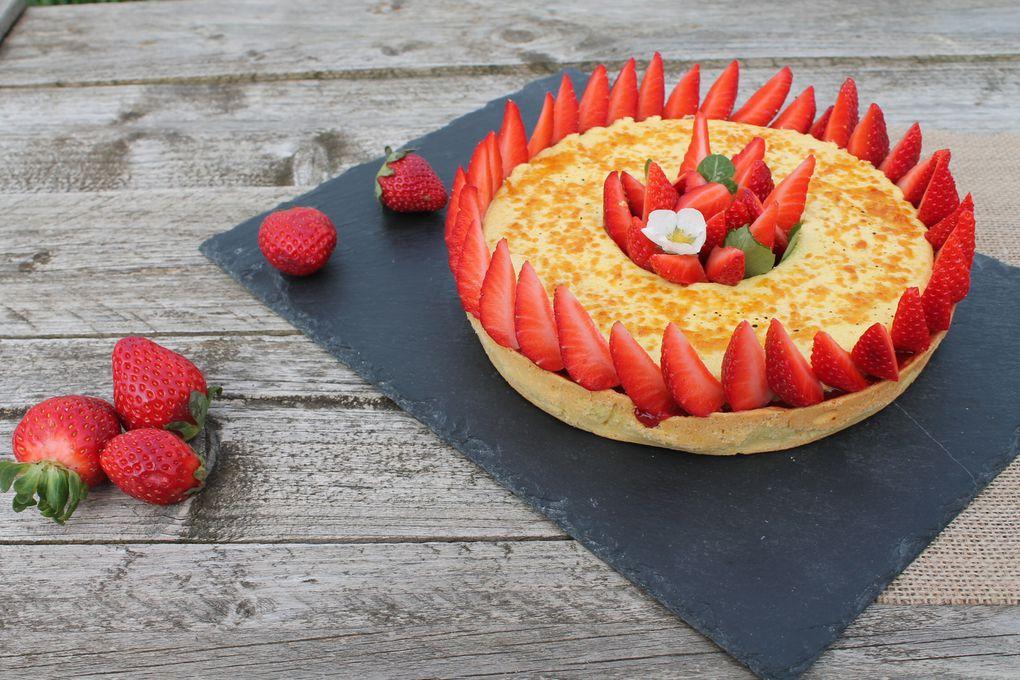 La Tarte aux fraises crème brulée basilic d'Ophélie Bares