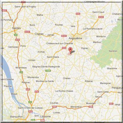 Charente - Bécheresse - Position église sur carte