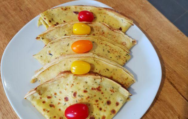 Crêpes jaunes salé au curcuma et persil