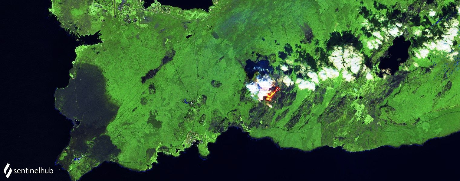Reykjanes Peninsula - Lava from vent # 5 flows into Meradalur - Image Sentinel-2 bands12,11,4 from 07.05.2021 - one click to enlarge
