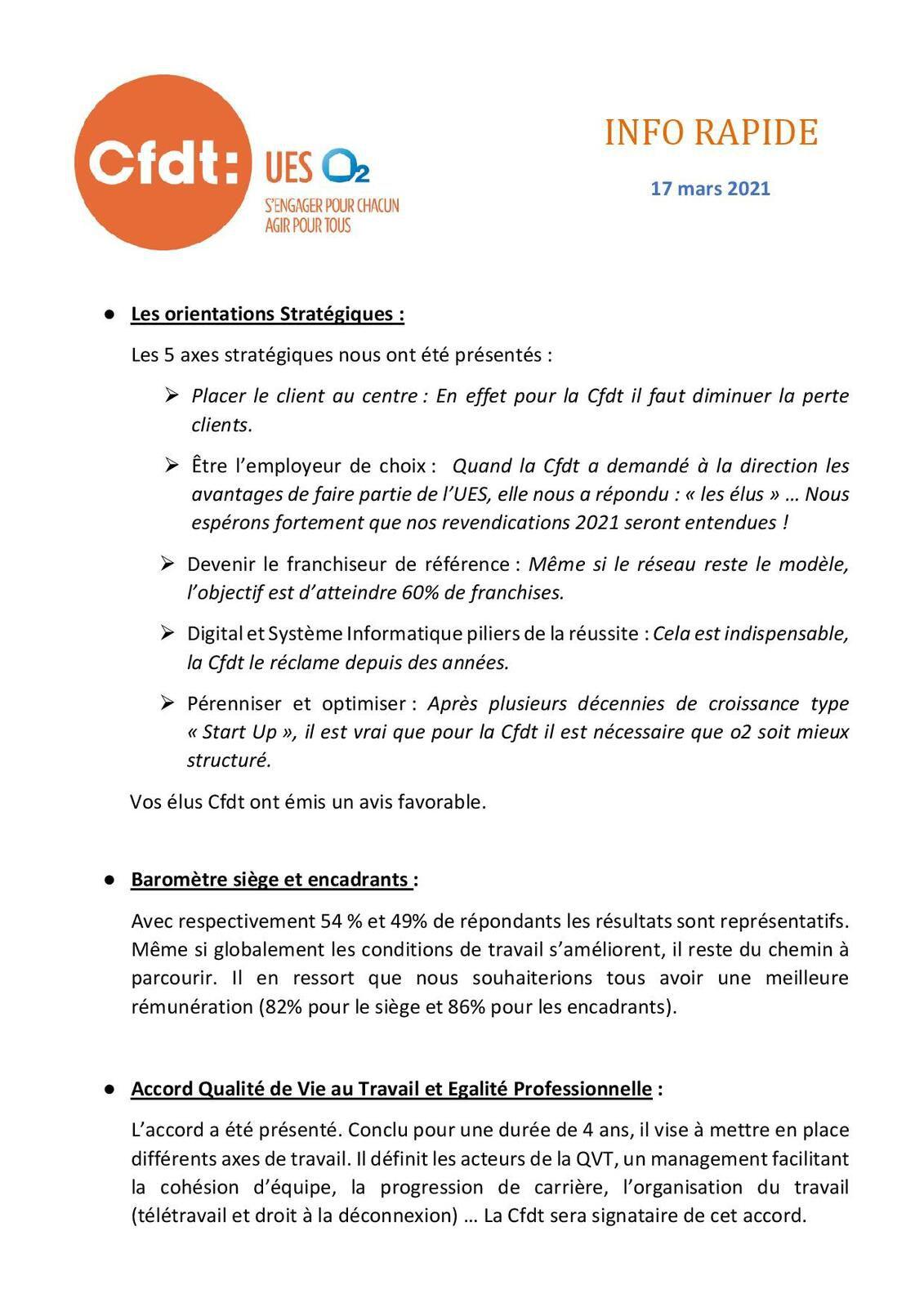Information CFDT Mars 2021