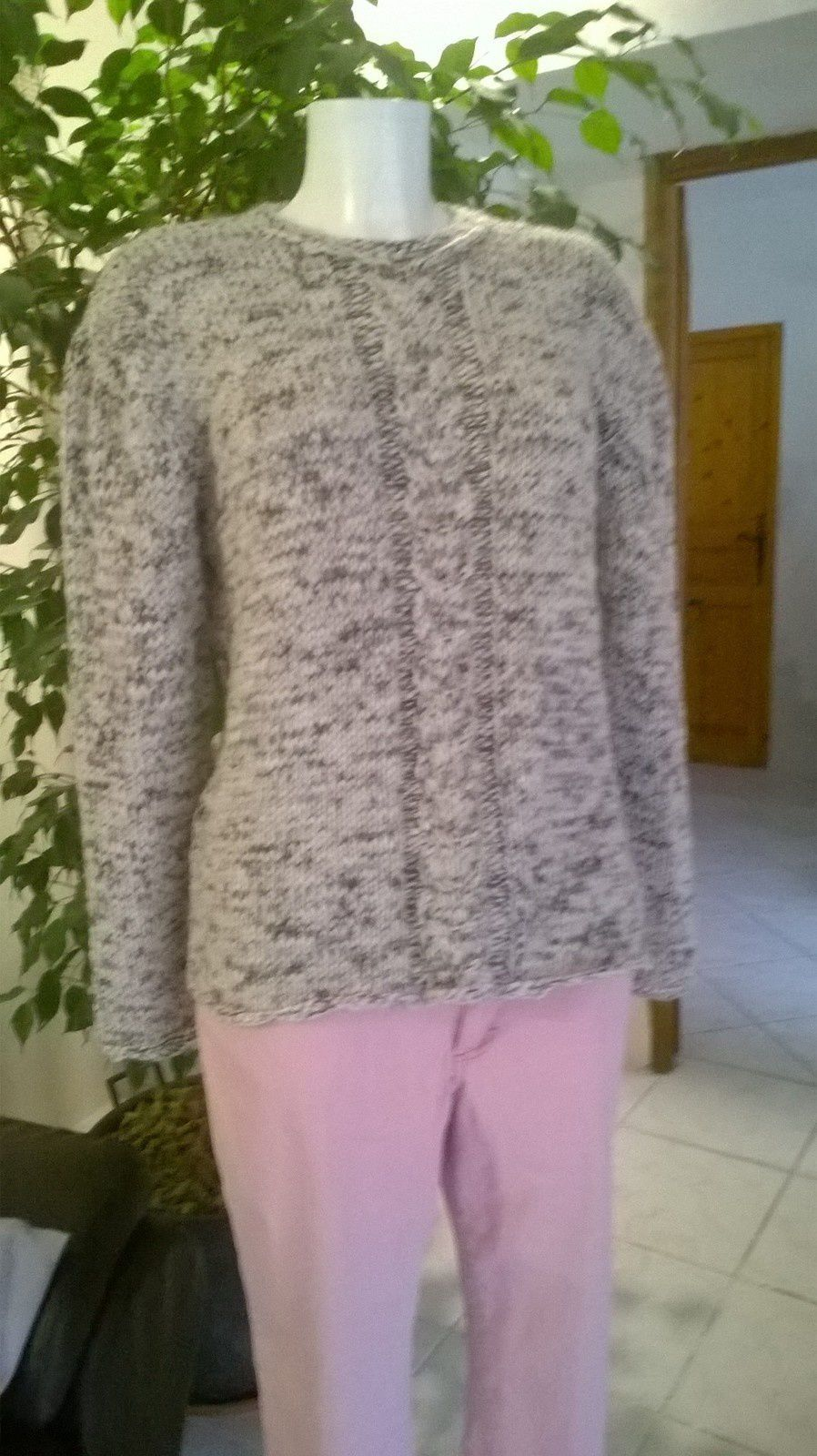 TUTO PULL FEMME A GROSSE TORSADE AU TRICOT ( Taille 40)