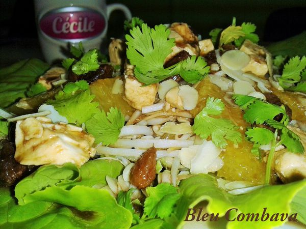 Salade Vitaminée au Fromage, Soja, Orange et Fruits Secs