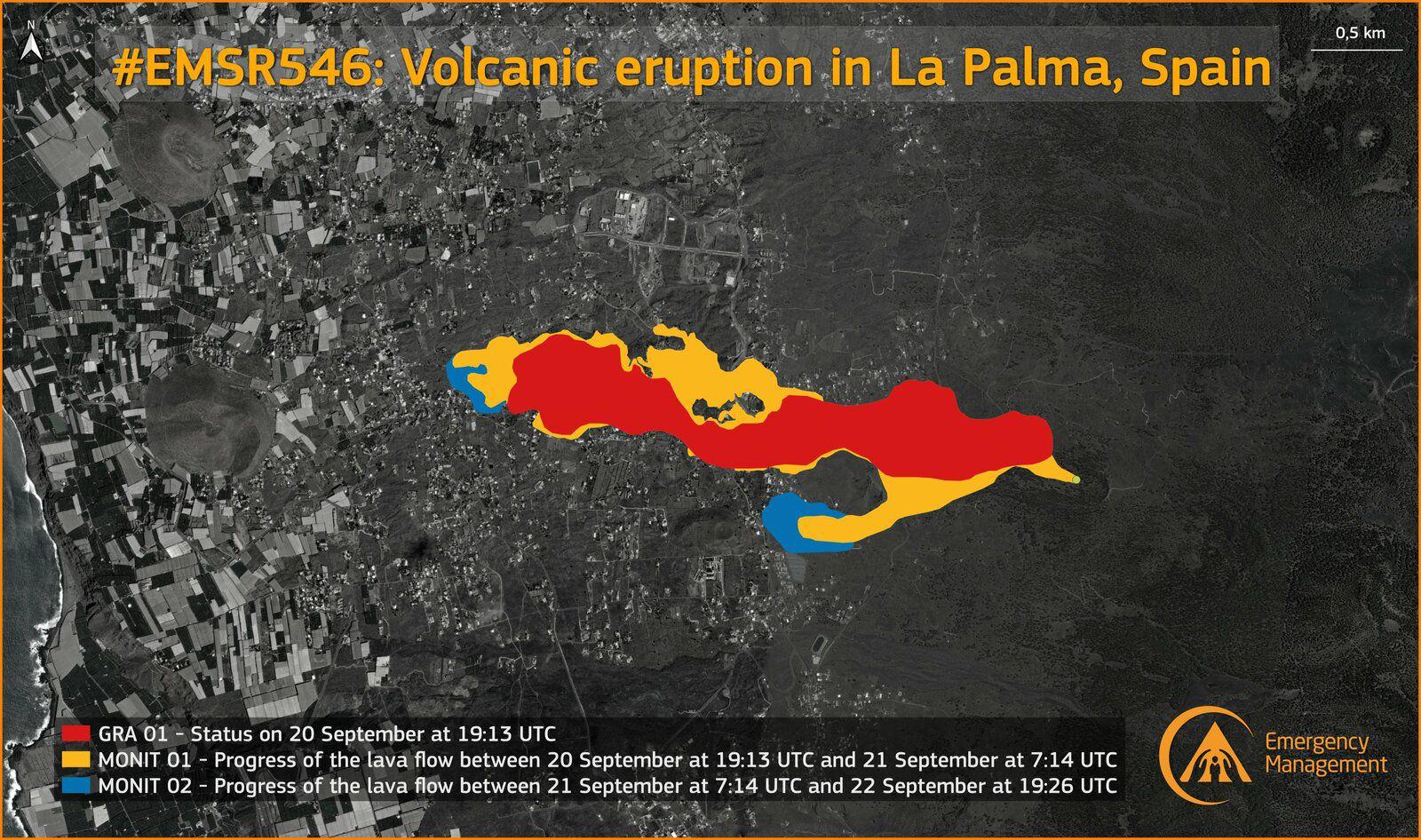La Palma - évolution des coulées de l'éruption de la Cumbre Vieja - image 22.09.2021 / Copernicus  Rapid Mapping Team /Using COSMO-SkyMed radar imagery