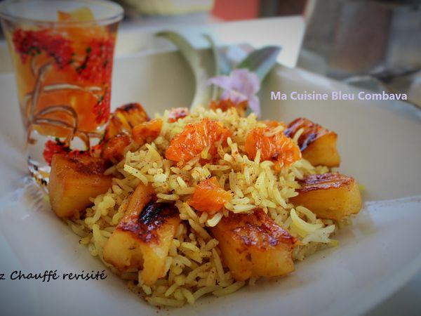Riz Chauffé à l'Ananas Victoria, Tangor, Sirop de Curcuma Et son rougail de fruits