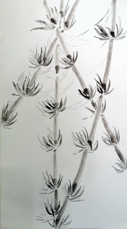 En s'inspirant de la peinture chinoise, papier et encre de chine