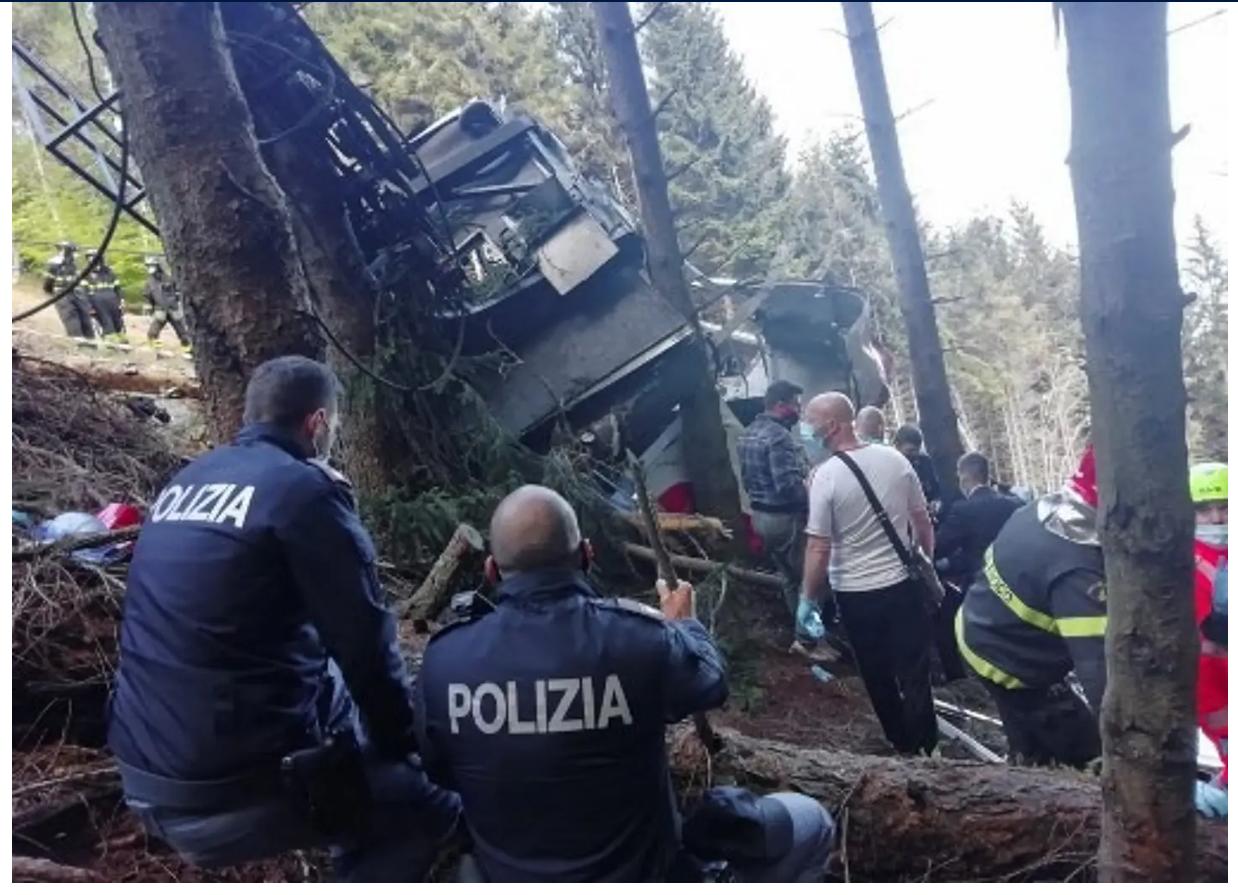 ITALIE: Chute d'un téléphérique. Le bilan de la catastrophe s'alourdit à 13 morts et 2 blessés graves