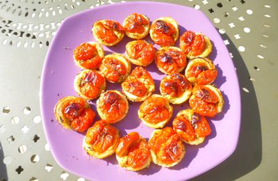 mini tartelettes apéro moutarde /tomates cerises
