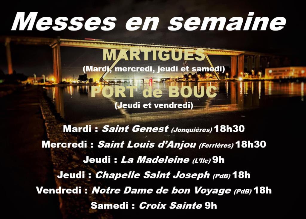 Horaires des Messes en semaine à Martigues et Port de Bouc