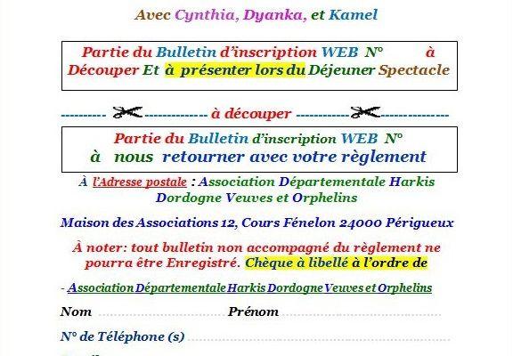 Bulletin d'inscription au 5 ème couscous spectacle danse orientale de l'amitié du dimanche 09 Avril 2017 à Périgueux
