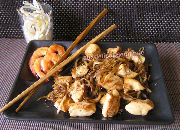 poulet et crevettes aux pousses de soja sauce yakitori - LIGHT-