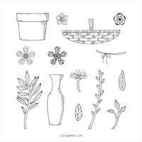 153305 Baskets of blooms fleur bouquet tampon stampin up vase perforatrice feuillage brace nature épi