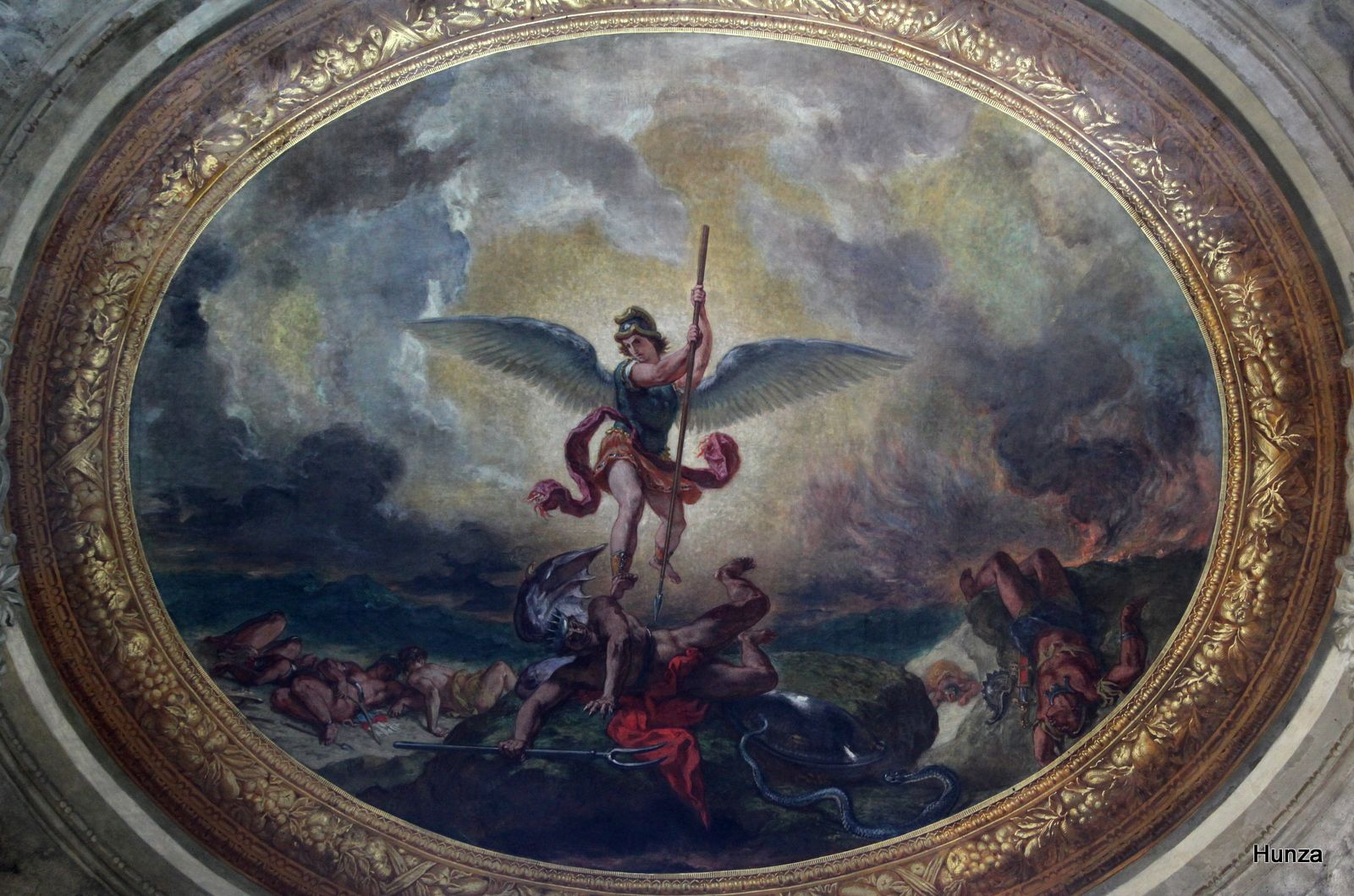 Eglise Saint-Sulpice, détail du tableau de Delacroix représentant Saint-Michel terrassant le dragon