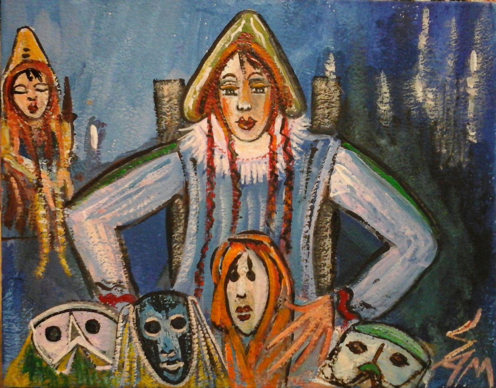 """""""  La marchande de masques et de poupées  """"  Peinture gouache sur bois haut 14 cm largeur 18 cm."""