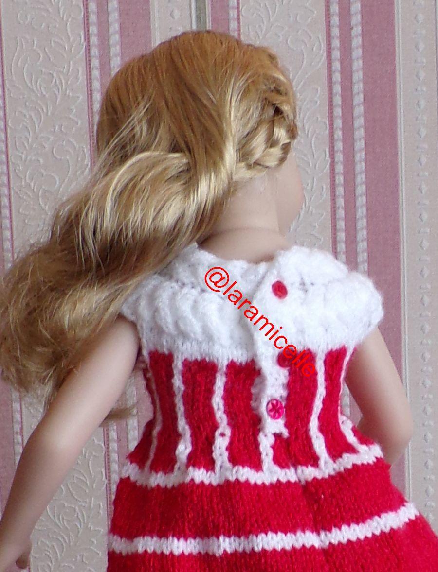 tuto gratuit poupée : robe à la tresse pour NOËL