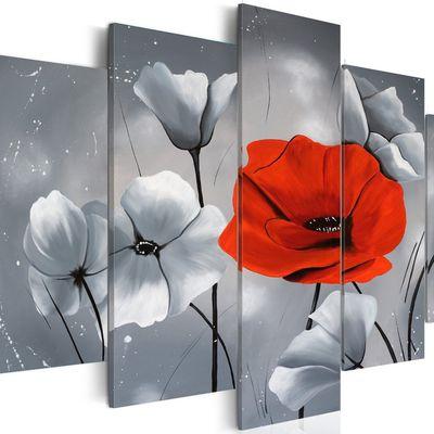Tableau coquelicot rouge 100x50 cm