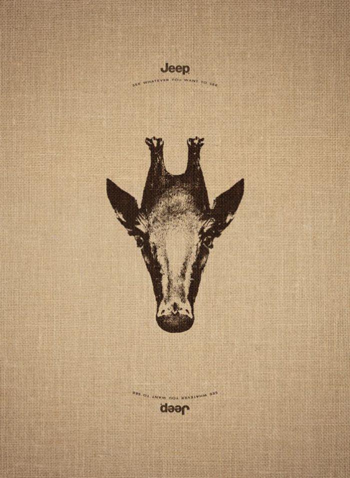 Publicité JEEP image ambiguë, cheval ou oiseau.