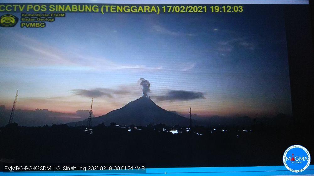 Sinabung - 17.02.2021 / 19h12 -  capture de moniteur / PVMBG